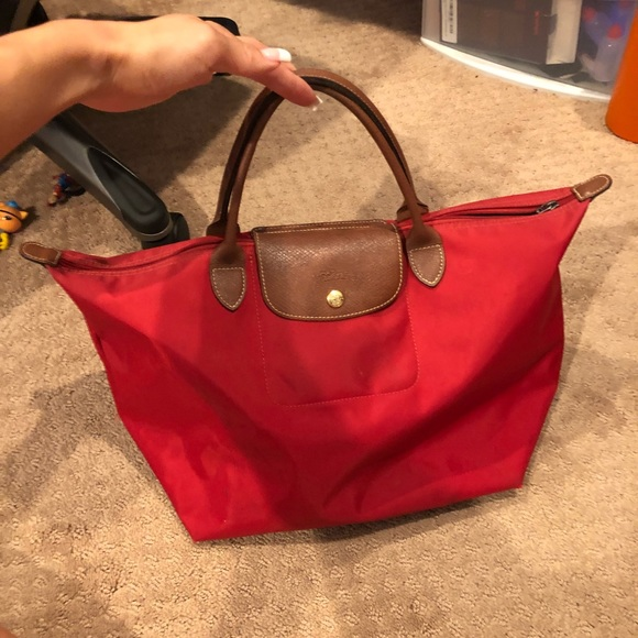 Longchamp Le Pliage Short Handle Tote in Red Large